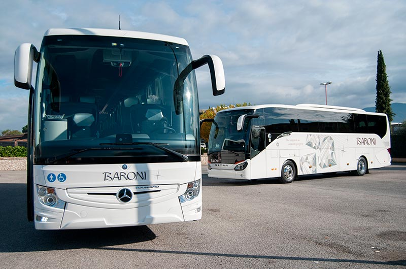 Ncc Umbria: rental coaches Setra and wheelchair accessible coaches Mercedes-Benz Tourismo - Baroni Autonoleggi Italy
